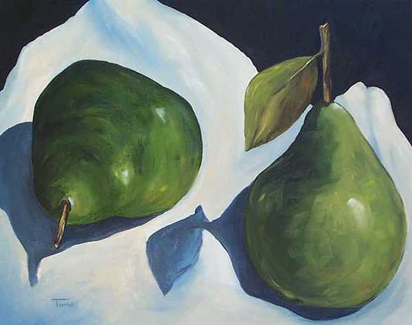 Food Painting - Green Pears On Linen - 2007 by Torrie Smiley