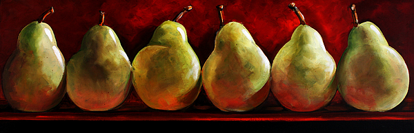 Pears Painting - Green Pears On Red by Toni Grote