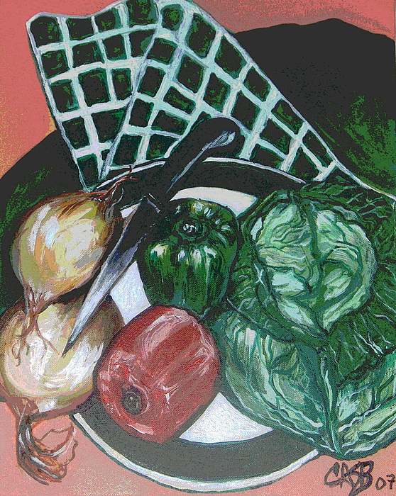 Green Plate Painting - Green Plate Of Cabbage Soup by Clara Spencer