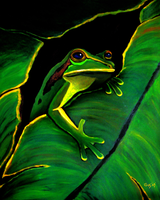 Frog Painting - Green Tree Frog And Leaf by Nick Gustafson