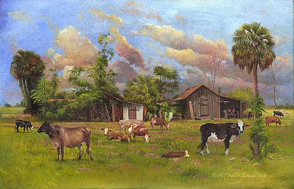Florida Cows Print - Greener Pastures by Keith Martin Johns