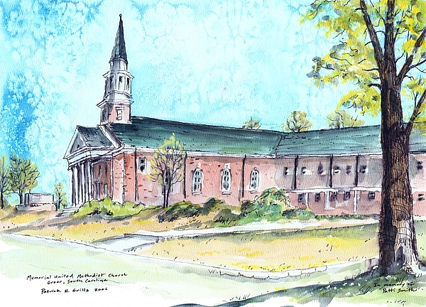 Church Painting - Greer United Methodist Church by Patrick Grills