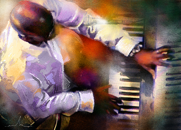 Musicians Painting - Greg Phillinganes From Toto by Miki De Goodaboom