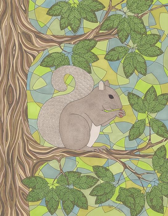 Squirrel Drawing - Grey Squirrel by Pamela Schiermeyer