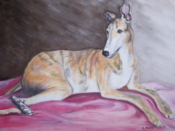 Brindle Painting - Greyhound Number 2 by George Pedro