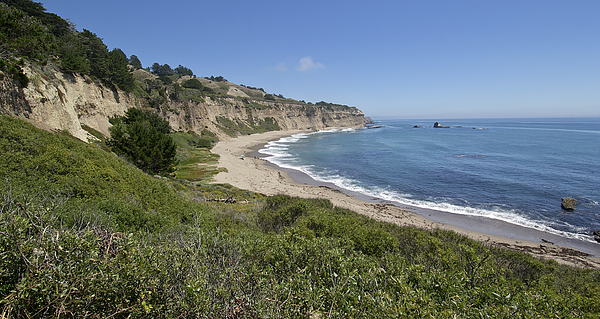 Pacific Photograph - Greyhound Rock Beach Panorama - Santa Cruz - California by Brendan Reals