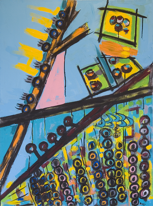 Telephone Poles Painting - Grid Abstract  With Gold Boxes by Maggis Art