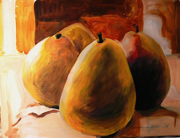 Still Life Painting - Group Of 4 Pears by Doranne Alden