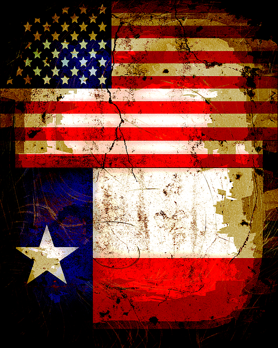 039b1c8729f Grunge Style Us And Texas Flags Photograph by David G Paul