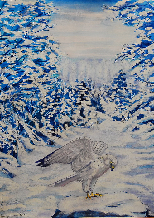 Winter Scenes Painting - Gryfalcon In Taos by George Chacon