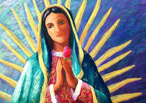 Guadalupe Pastel - Guadalupe With Rose by Candy Mayer