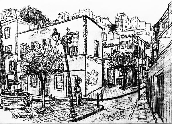 Street Drawing - Guanajuato Street by Rich Travis