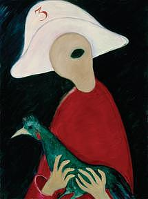 Bird Painting - Guard With A Guinea Fowl by Victor Lysakov