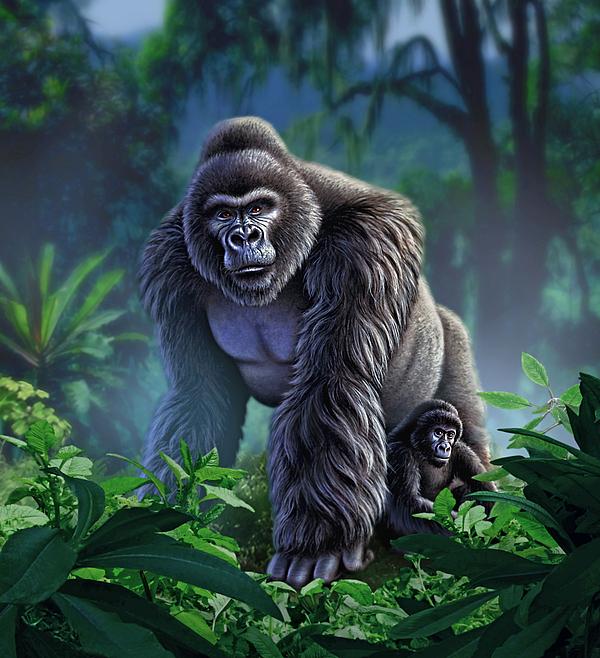 Gorilla Painting - Guardian by Jerry LoFaro