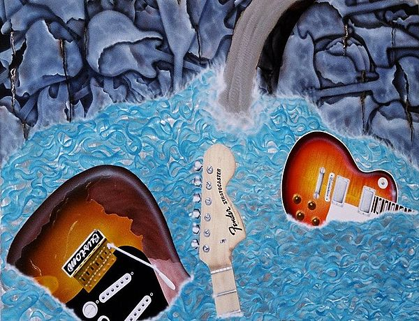 Guitars Mixed Media - Guitar Bay by Chris Macri
