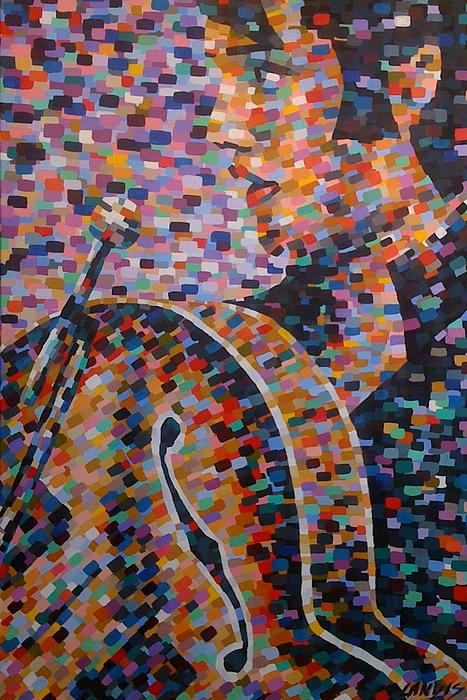Elvis Painting - Guitar Elvis by Denise Landis