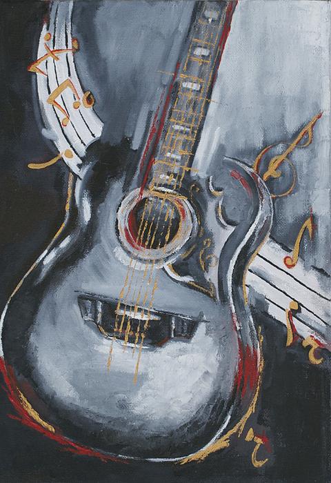 guitar painting by kanchan mehendale. Black Bedroom Furniture Sets. Home Design Ideas
