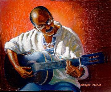 Guitar Man Painting by Roger Trivinos