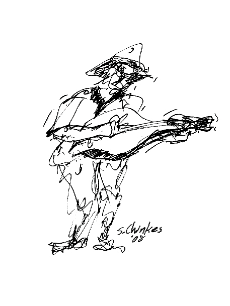 Blues Drawing - Guitar Practice by Sam Chinkes