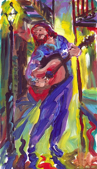 Guitar Painting - Guitar Solo by Saundra Bolen Samuel