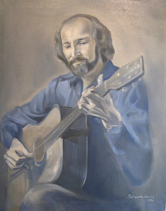 Oil Portrait Painting - Guitarist  by Suzanne Cerny