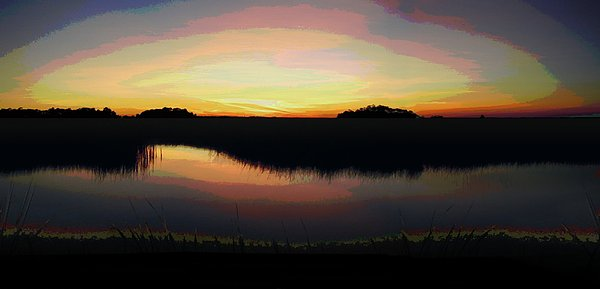 Seascapes Painting - Gulf Coast Florida Marshes Sunset by G Linsenmayer