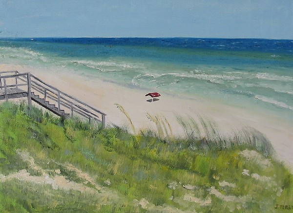 Seascape Painting - Gulf View From Dune by John Terry