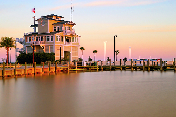 Gulfport Photograph - Gulfport Harbor Masters Office - Mississippi - Sunset by Jason Politte
