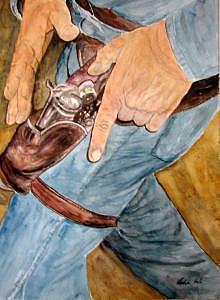 Gun Hands Print by Veda Hale