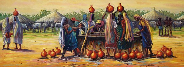 Calabash Painting - Gwari Girls by Aderonke ADETUNJI