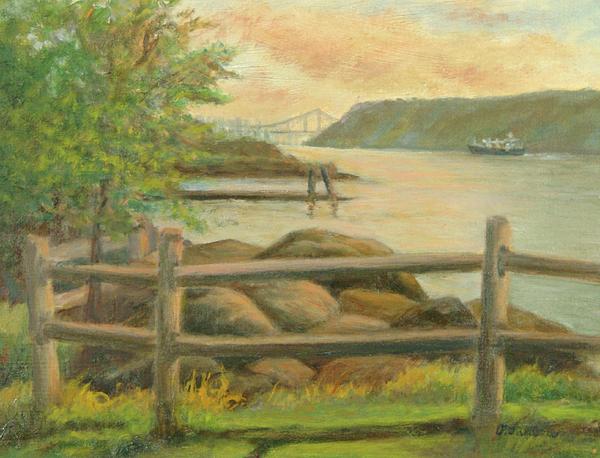 George Washington Bridge Painting - Gwb From Hastings by Phyllis Tarlow