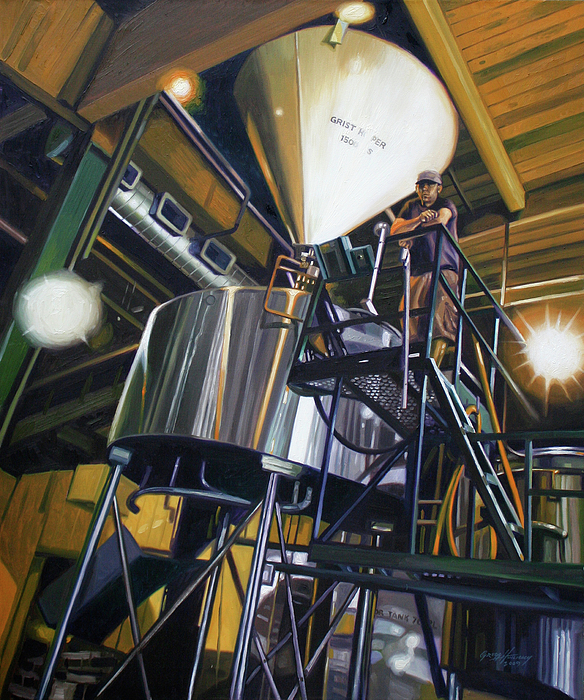 Portrait Painting - Hales Ales  Composition In Secondary Color by Gregg Hinlicky
