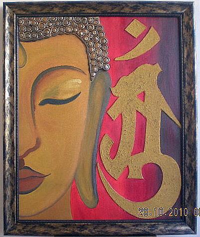 Half Buddha Painting By Rahil Monga