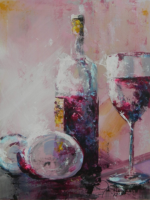 Wine Abstract Painting - Half Savored by John Henne