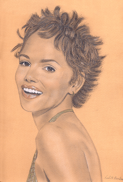 Halle Berry Drawing - Halle Berry by Nicole I Hamilton