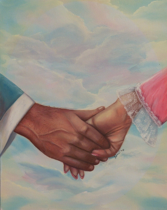 Portrait Painting - Hand In Hand Forever by Joni McPherson