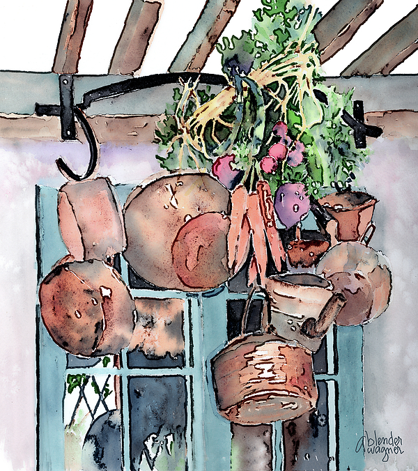 Pot Painting - Hanging Pots And Pans by Arline Wagner
