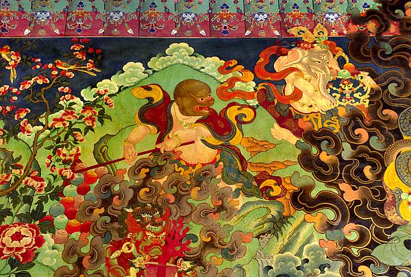 Tibet Photograph - Hanuman Mural - Sera Monastery Tibet by Craig Lovell