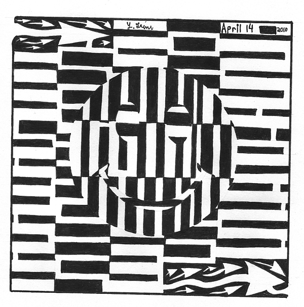 Happiness Drawing - Happiness Is An Illusion Maze by Yonatan Frimer Maze Artist