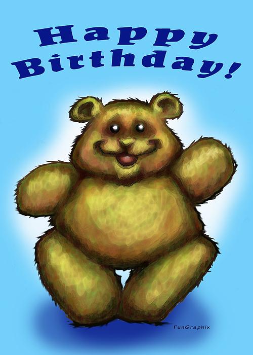 Happy Birthday Greeting Card - Happy Birthday Bear by Kevin Middleton