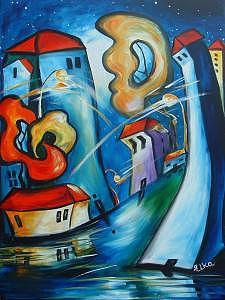 City Painting - Happy Dance After Rain by Elizabeth Kawala
