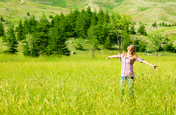 Active Photograph - Happy Girl Enjoying Nature by Anna Om