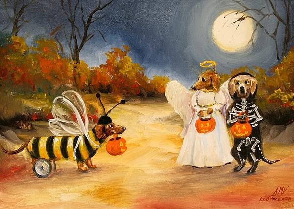 Dachshund Painting - Happy Halloweenies Dachshund Art by Stella Violano