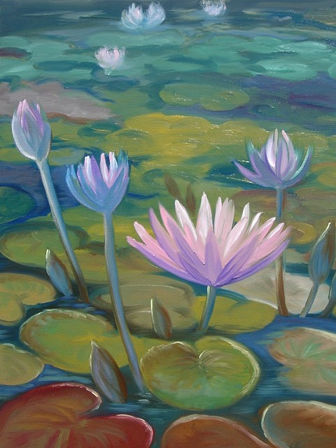 Pond Painting - Happy Lilies by Tan Nguyen