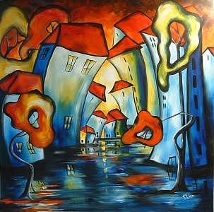 Abstract Painting - Happy Night In The  Magic City by Elizabeth Kawala