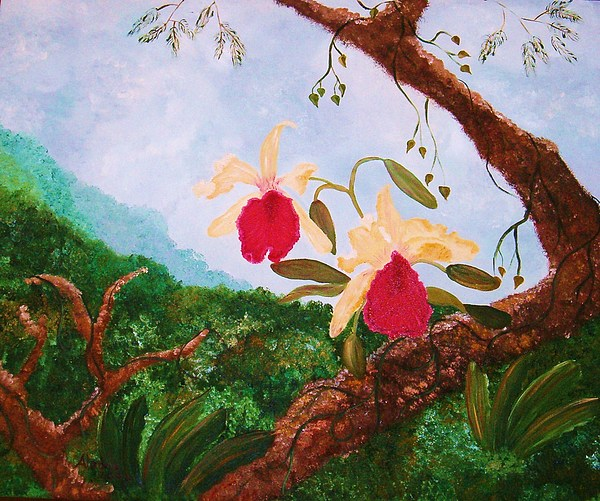Tropical Painting - Happy Orchids by Alanna Hug-McAnnally