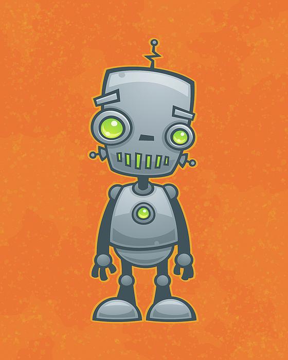 Robot Digital Art - Happy Robot by John Schwegel