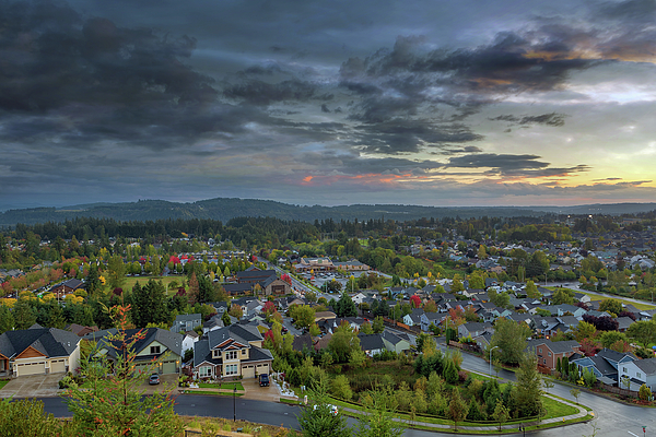 Happy Valley Photograph - Happy Valley Residential Neighborhood During Sunset by David Gn