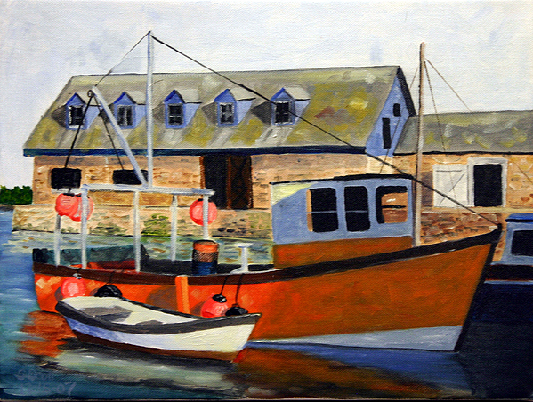 Landscape Painting - Harbor Boat by Steven Scott