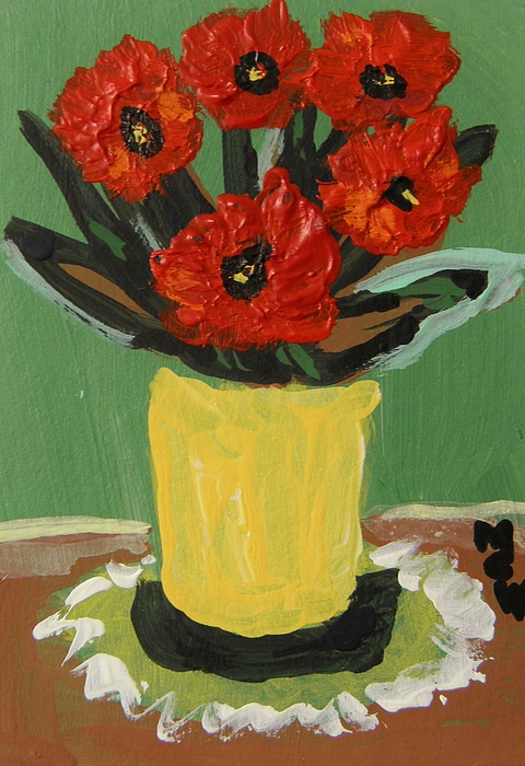 Red Floral Painting - Hardy Reds by Mary Carol Williams